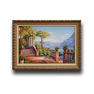 Carl Frederic Aagaard 'Lodge on Lake Como' Wood Framed Wall Art