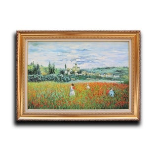 Claude Monet 'Poppy Field Near Vetheuil' Wood Framed Wall Art