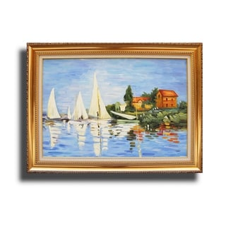Claude Monet 'Regatta at Argenteuil II' Hand-painted Reproduction Canvas Art
