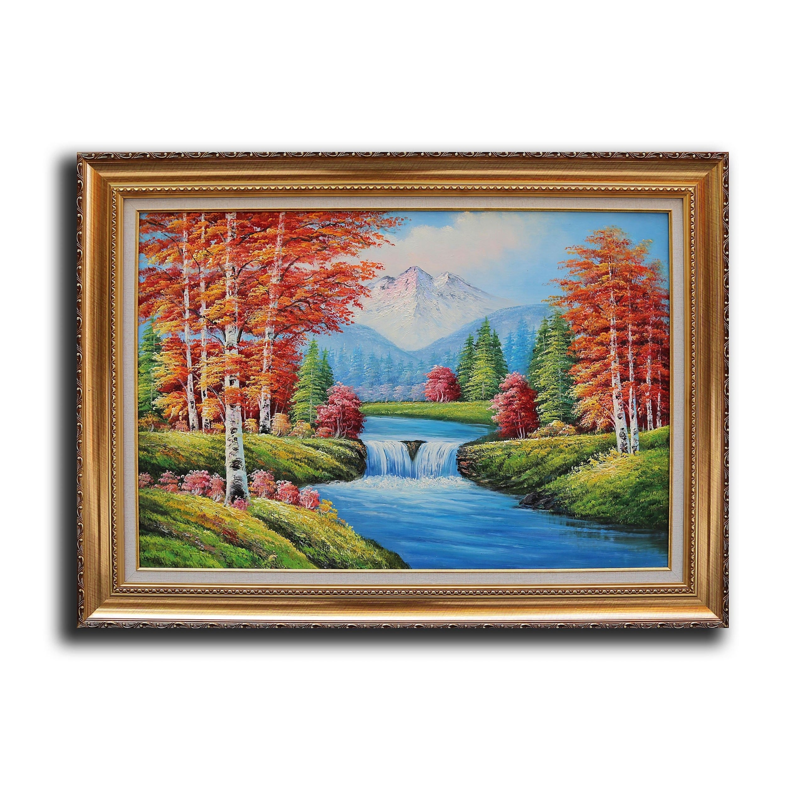 First Lighting 'Small Waterfall Snow Mountain' Framed Oil...
