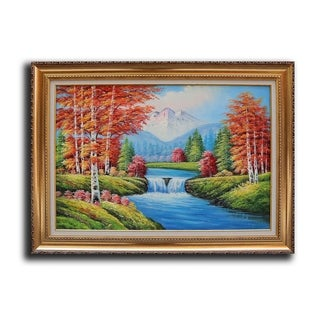 'Small Waterfall Snow Mountain' Framed Oil Painting