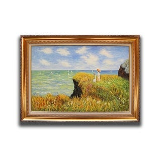 Claude Monet 'The Cliff Walk at Pourville' Framed Canvas Hand-painted Replica Wall Art