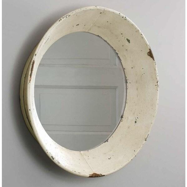 Dutch off white distressed round wall mirror free for White round wall mirror
