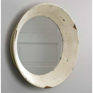 Dutch Off-White Distressed Round Wall Mirror