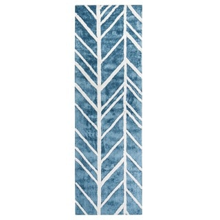 Jani Adi Blue Rayon from Bamboo Viscose Runner Rug (2'6 x 8')
