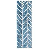 Jani Adi Blue Rayon from Bamboo Viscose Runner Rug