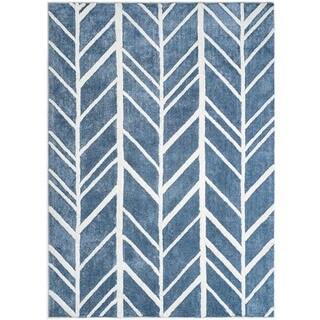 Jani Adi Blue Rayon from Bamboo Viscose Area Rug (4' x 6')