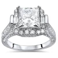 Noori 18k White Gold 2 7/8ct TDW Princess-cut Enhanced Diamond Engagement Ring