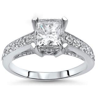 Noori 18k White Gold 1 3/4ct TDW Princess-cut Enhanced Diamond Engagement Ring (F-G, SI1-SI2)