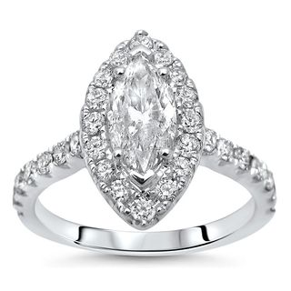 Noori 14k White Gold 1 1/3ct TDW Marquise Diamond Engagement Ring