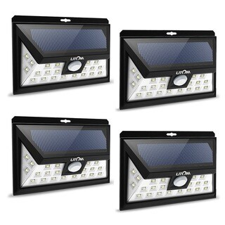 24 LED Outdoor Motion Sensor Solar Lights Wide Angle Design with 3 LEDs Both Side (Pack of 4)