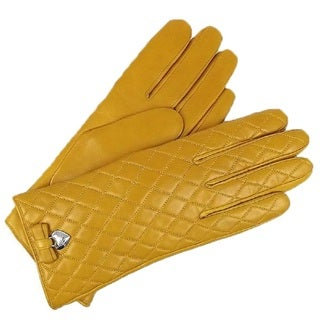 Coach Yellow Leather Quilted Gloves