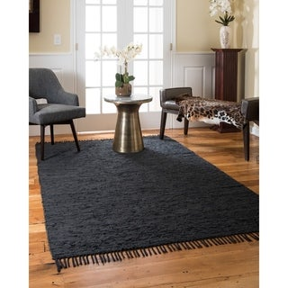 Natural Area Rugs Hand Woven Limassol Leather Rug, Black, (6' x 9') with Bonus Rug Pad