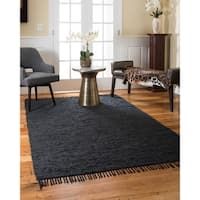 Natural Area Rugs Hand Woven Limassol Leather Rug, Black, (6' x 9')