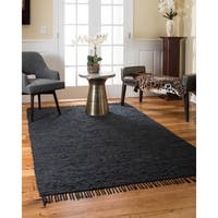 Natural Area Rugs Hand Woven Limassol Leather Rug, Black, (5' x 8')
