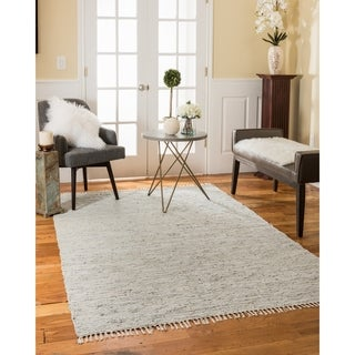 Natural Area Rugs Hand Woven Limassol Leather Rug, Gray, (8' x 10') with Bonus Rug Pad
