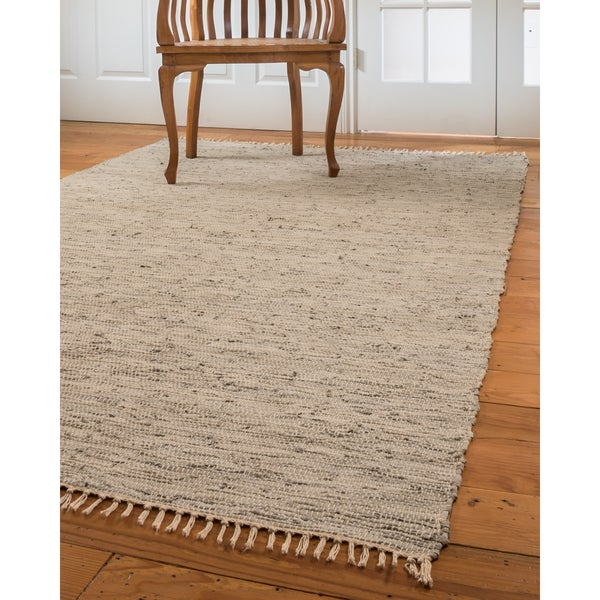 Natural Area Rugs Hand Woven Limol Leather Rug Gray 6 X27