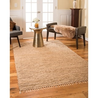 Natural Area Rugs Hand Woven Limassol Leather Rug, Wood, (5' x 8') with Bonus Rug Pad