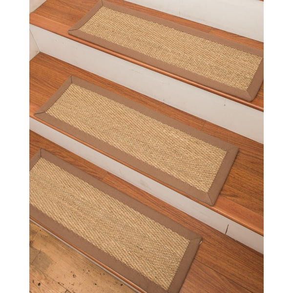 """Handcrafted Costa Rica Seagrass Carpet Stair Treads - Malt (Set of 13) - 9""""x 29"""""""
