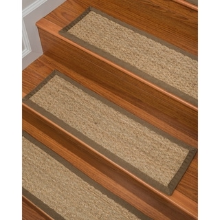 Handcrafted Half Panama Seagrass Carpet Stair Treads - Malt 9 x 29 (Set of 13)
