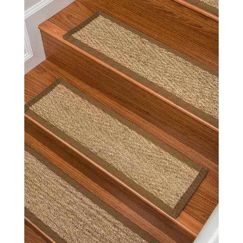 "Natural Area Rugs 100% Natural Fiber Beach, Seagrass Sage, Handmade Stair Treads Carpet Set of 13 (9""x29"") Malt Border"