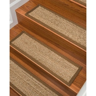 Handcrafted Beach Seagrass Carpet Stair Treads - Malt 9 x 29 (Set of 13)