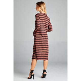 Spicy Mix Larissa Striped Extra-long Open-front Cardigan with Side Slits