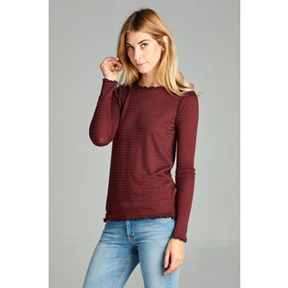 Spicy Mix Sariah Thin-striped Long-sleeve Lettuce-detailed Edge-knit Top