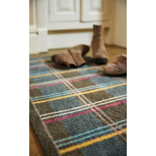 "Muddle Mat Wide Check-patterned Nylon Runner Rug (20"" x 59"")"