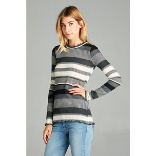 Spicy Mix Alia Multicolored Polyester Knit Striped Long-sleeved Lettuce-detailed-edge Top