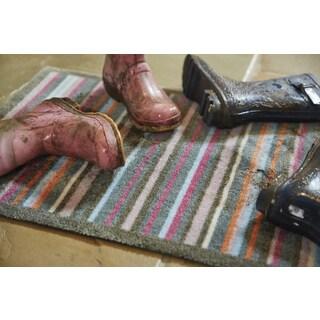 Muddle Mat Thin Stripes Nylon Washable Runner Rug (1'8 x 4'11)