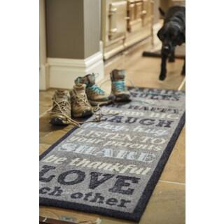 Muddle Mat Family Rules Nylon Washable Runner Rug (1'8 x 4'11)