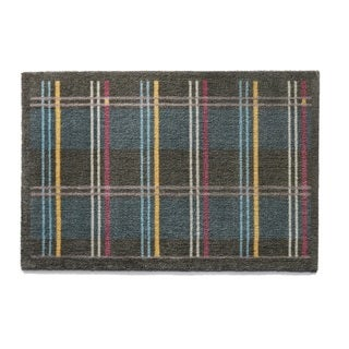 Muddle Mat Wide Check Blue/Grey Nylon Washable Accent Rug (1'8 x 2'6)