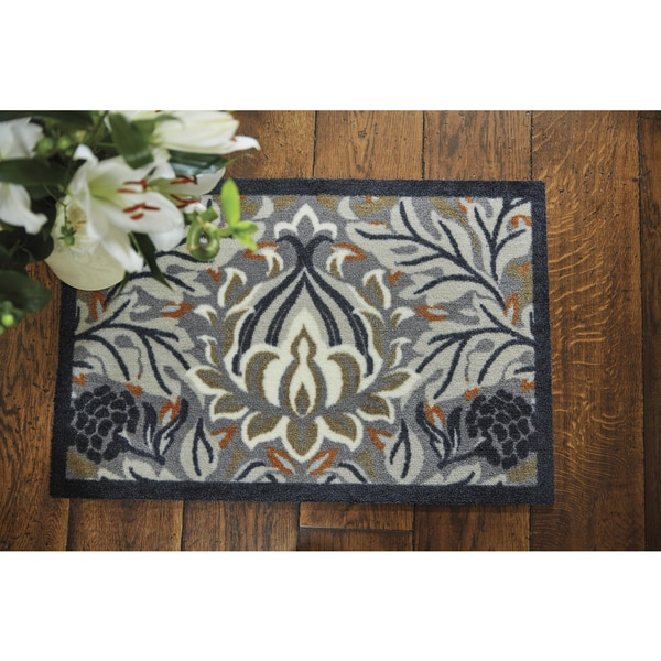 Muddle Mat Floral Nylon Washable Accent Rug (1'8 x 2'6)