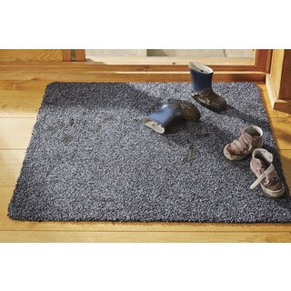 "Muddle Mat Solid-colored Cotton/Rubber Washable Accent Rug (2'8 x 3'2) - 2'9"" x 3'3"""