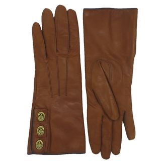 Coach Women's Brown Leather and Cashmere Turnlock Gloves