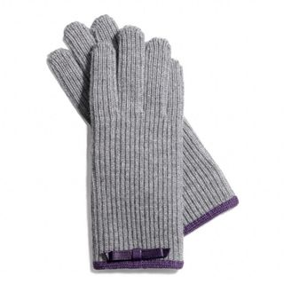 Coach Grey 100-percent Wool Knit Gloves