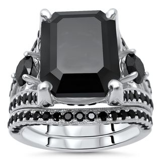 Noori 14k White Gold 8 3/4ct TDW Black Emerald-cut Diamond Bridal Set