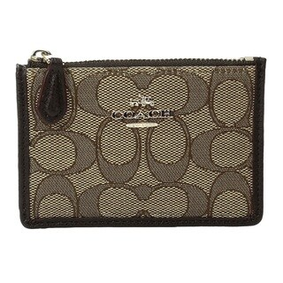 COACH Box Program Signature Jacquard Mini Skinny Brown Wallet