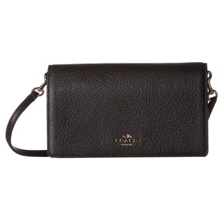 coach clearance outlet online v0m0  Coach Polished Pebbled Leather Fold-Over Black Crossbody