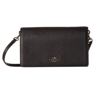 coach bag clearance outlet vebe  Coach Polished Pebbled Leather Fold-Over Black Crossbody