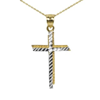 Men's 10k Two-tone Cross Pendant