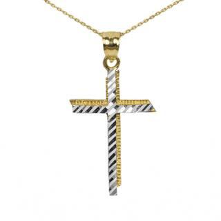 Men's 10k Two-tone Cross Pendant|https://ak1.ostkcdn.com/images/products/13814992/P20462722.jpg?impolicy=medium