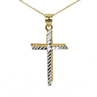 Men's 10k Two-tone Cross Pendant