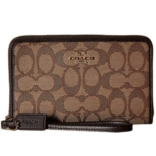Coach Box Program Signature Brown Zip Organizer