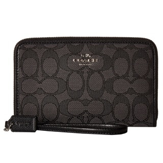 COACH Box Program Signature Black Zip Organizer