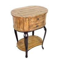 Heritage Wood and Iron 2-drawer Side Table