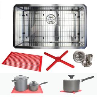 Ariel 30-inch Stainless Steel Single Bowl 15mm Radius Undermount Kitchen Sink Combo