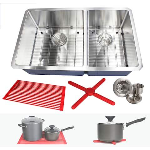 "32"" Stainless Steel 15mm Radius Double 60/40 Bowl 16 Gauge Undermount Kitchen Sink Complete Combo Accessories"