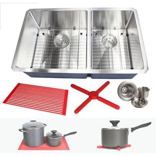 "Ariel 32"" Stainless Steel 15mm Radius Double 60/40 Bowl 16 Gauge Undermount Kitchen Sink Complete Combo Accessories"